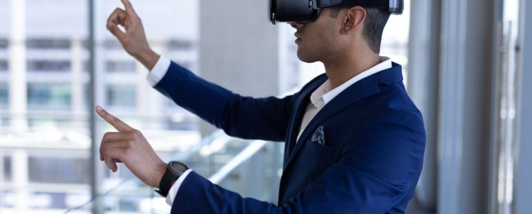businessman using vr headset for mixed reality in business