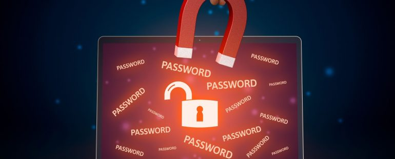 Laptop with the word password written in many places| Featured image for Password Management Software Blog