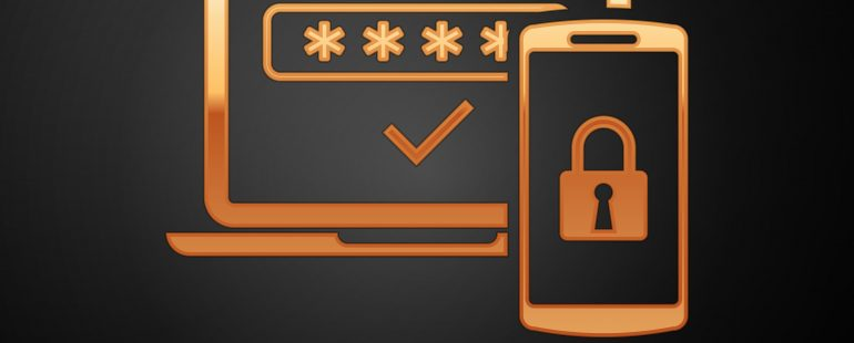 Gold clip-art style design of phone and computer | Featured Image for Two Factor Authentication: What's the Best Method? | Blog